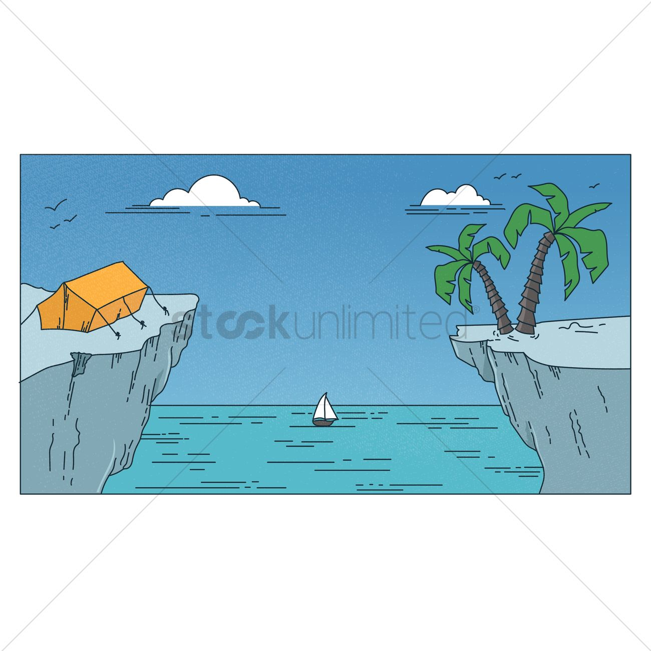 1300x1300 Camping On The Edge Of A Cliff Vector Image