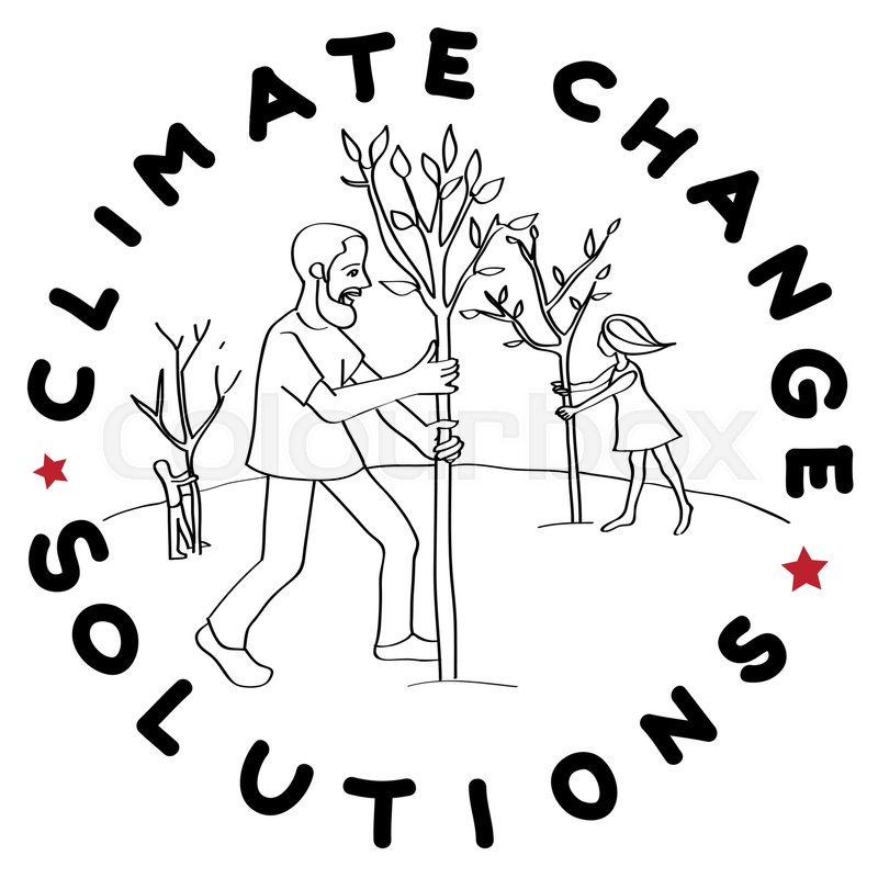 800x800 Climate Change Solution Illustration, Hand Drawn Sticker Isolated