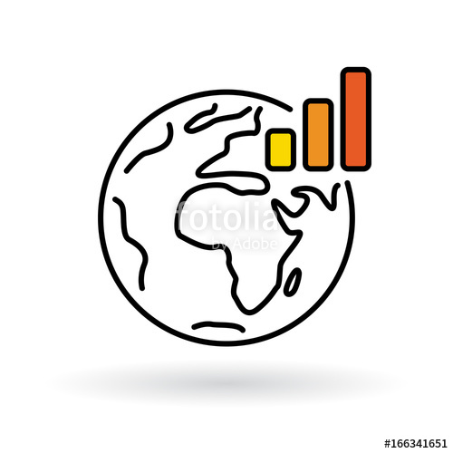 500x500 Simple World With Global Warming Chart Icon. Earth And Climate