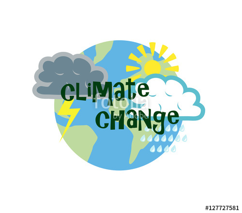500x440 Vector Image Of The Globe With Weather Symbols And Climate Change