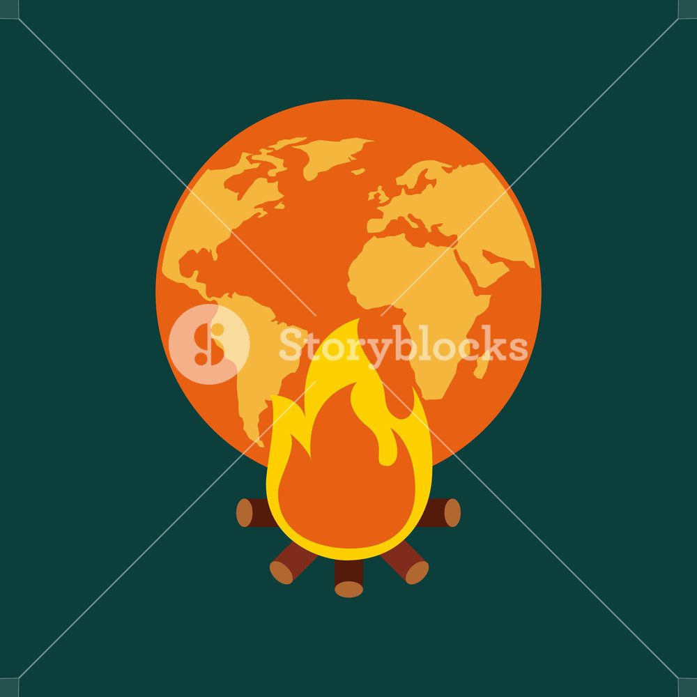 1000x1000 Orange And Yellow Planet Earth Bonfire Climate Change Vector