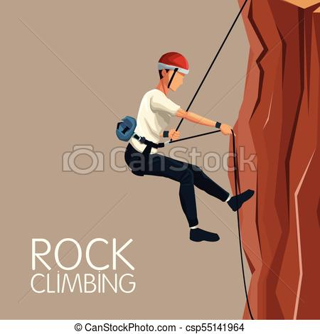 450x470 Beige Color Background Scene Man Mountain Descent With Harness