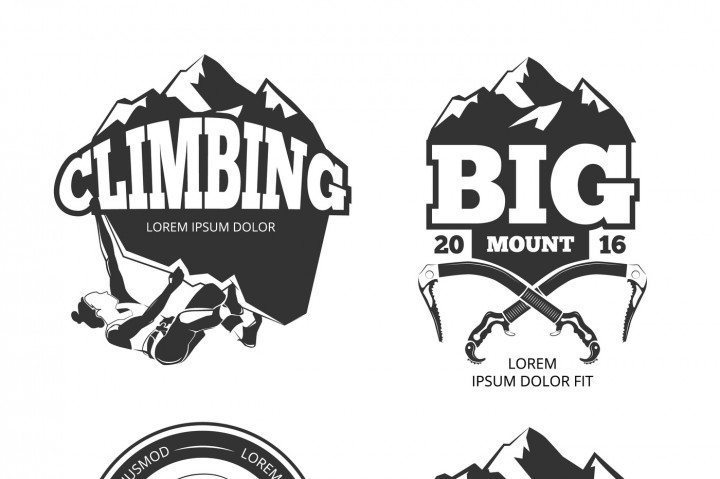 720x479 Vintage Mountain Climbing Vector Logo And Labels Set By