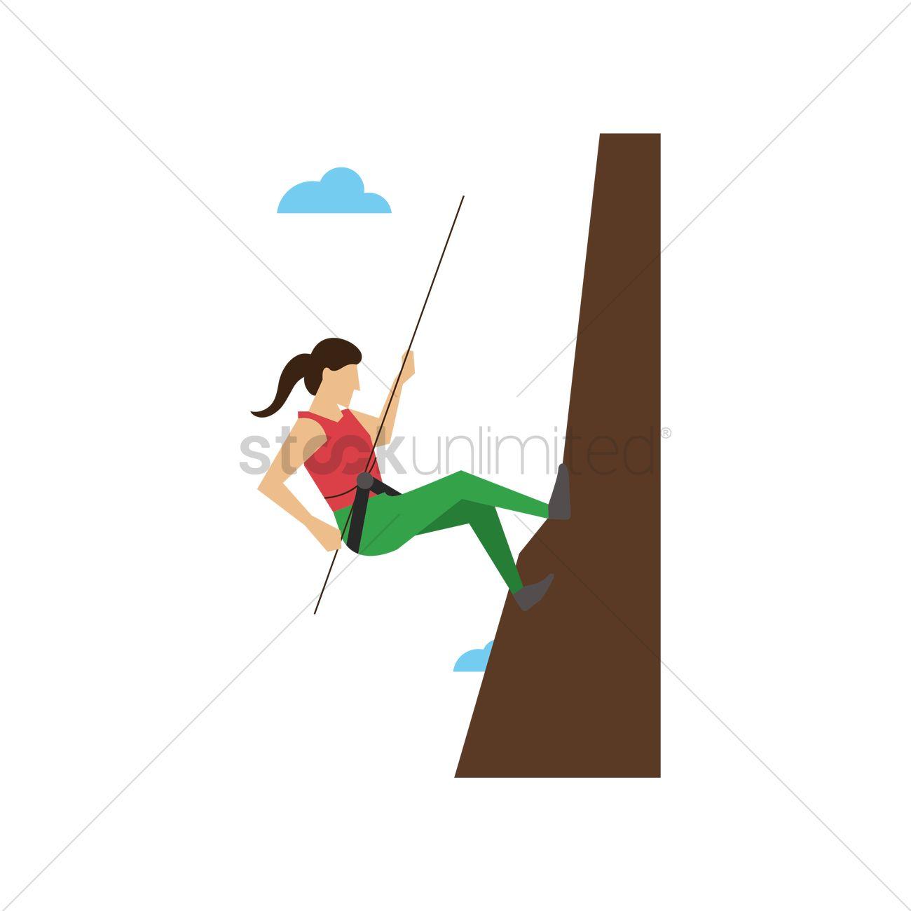 1300x1300 Woman Mountain Climbing Vector Image