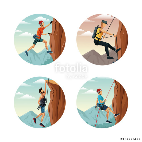 500x500 Set Circular Frame With Scene Landscape Man Rock Climbing Vector
