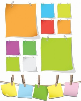 341x425 Blank Colorful Papers With Clip Vector Graphic Vector Misc