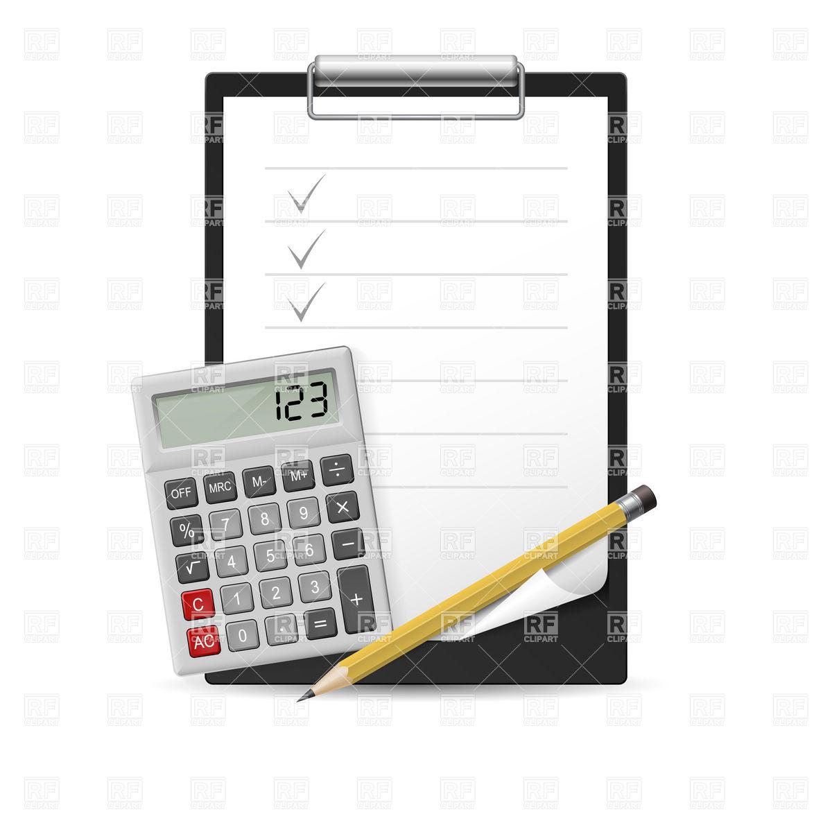 1200x1200 Clipboard With Checklist, Pencil And Calculator Vector Image