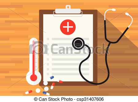 450x334 Medical Record Health In Clipboard Vector Flat Design.