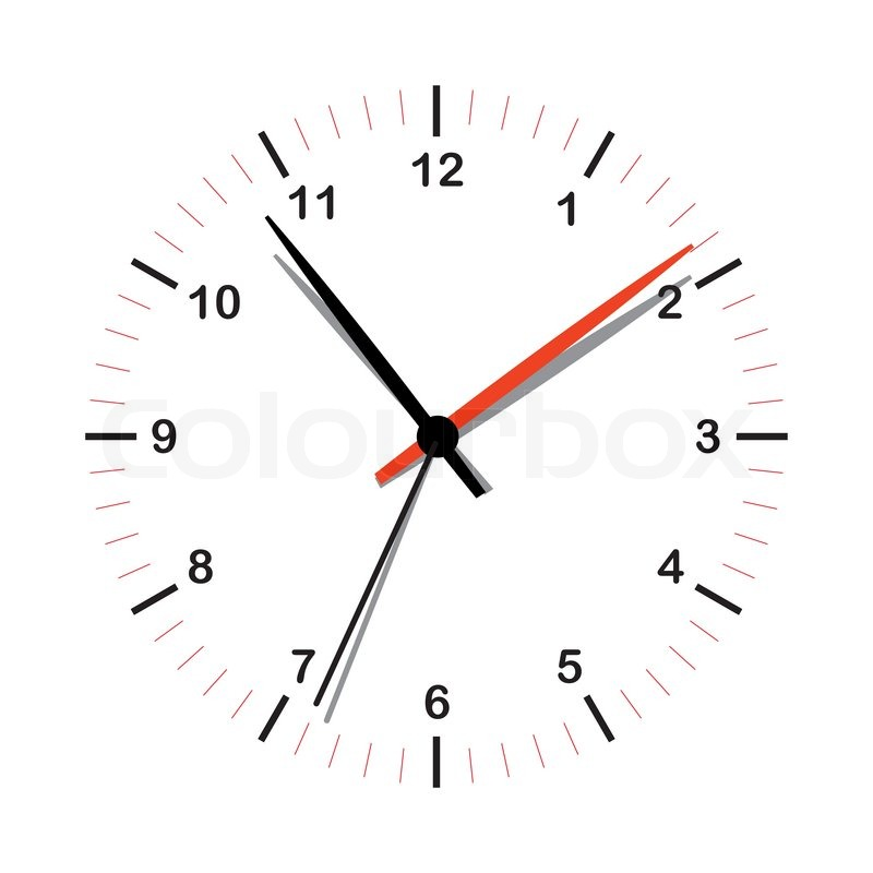 800x800 Illustrated Simple Clock Icon With Shadow On Hands Stock Vector