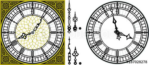500x219 Vector Antique Old Clock With Square Golden Ornament Roman Baroque