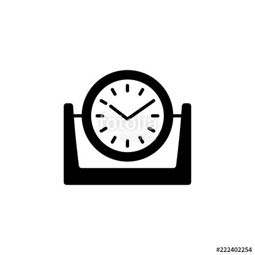 500x500 Vector Illustration Of Modern Desk Timepiece. Flat Icon Of Round