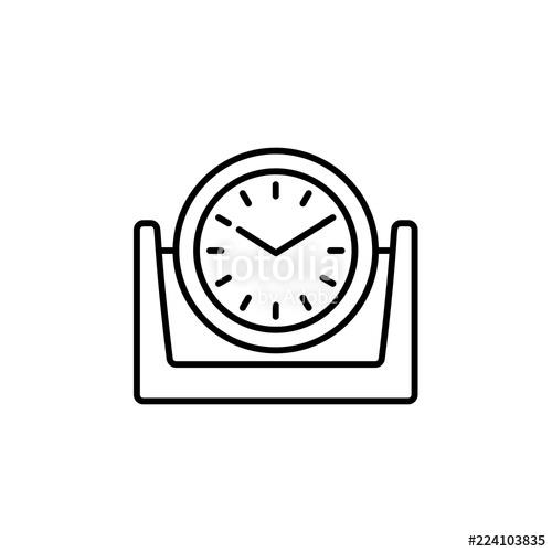 500x500 Vector Illustration Of Modern Desk Timepiece. Line Icon Of Round