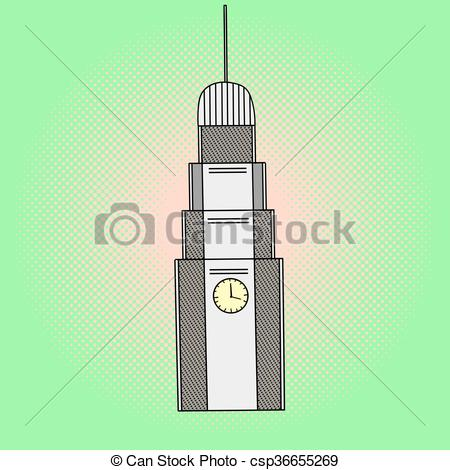 450x470 Clock Tower Pop Art Vector Illustration. Clock Tower Pop Art