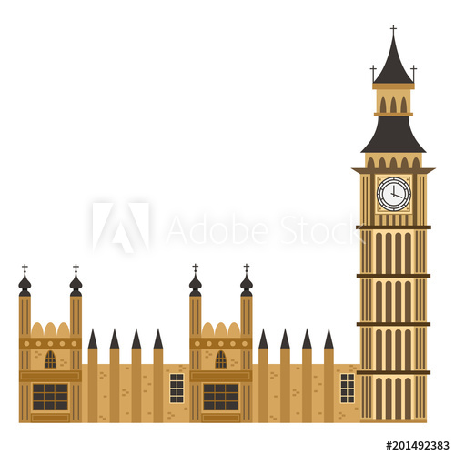 500x500 Big Ben Clock Tower. Vector Flat Icon Of London Building Isolated