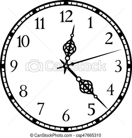450x470 Old Clock Vector Illustration. Old Clock Illustration.