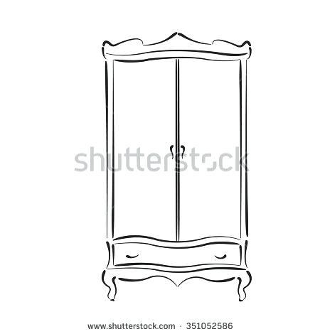450x470 Vintage Closet Sketched Vintage Wardrobe Vintage Closet Vector