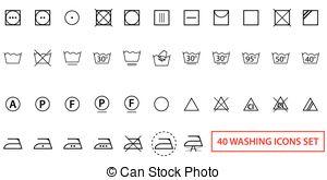 300x165 Icon Set Of Laundry And Care Symbols. Icon Set Of Laundry Symbols