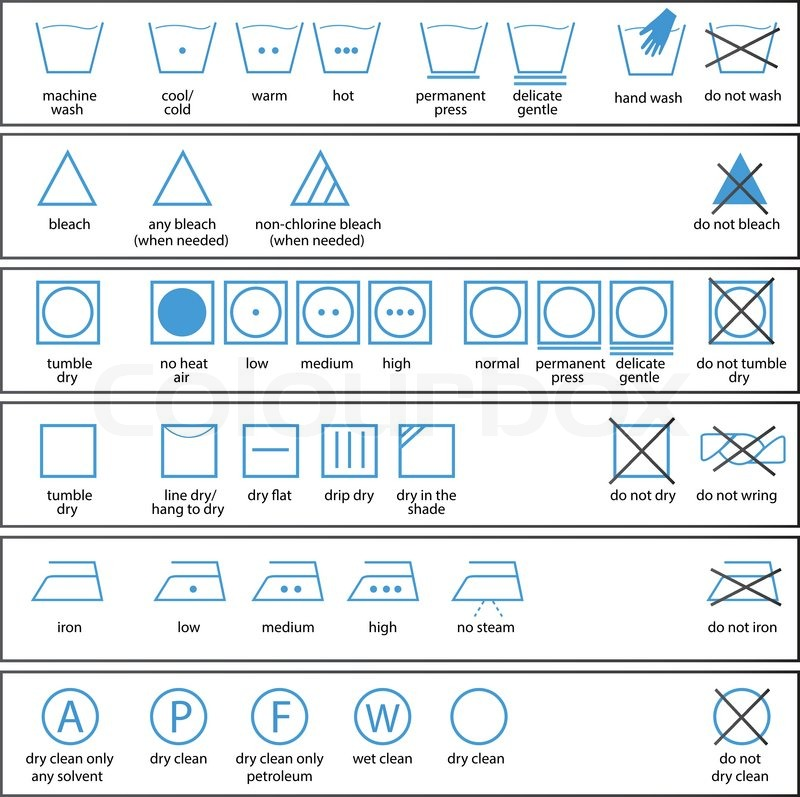 800x797 Icon Set Of Washing Signs And Textile Care Label Symbols Stock