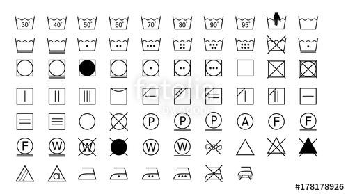 500x279 Laundry Symbols, Washing Instructions Stock Image And Royalty