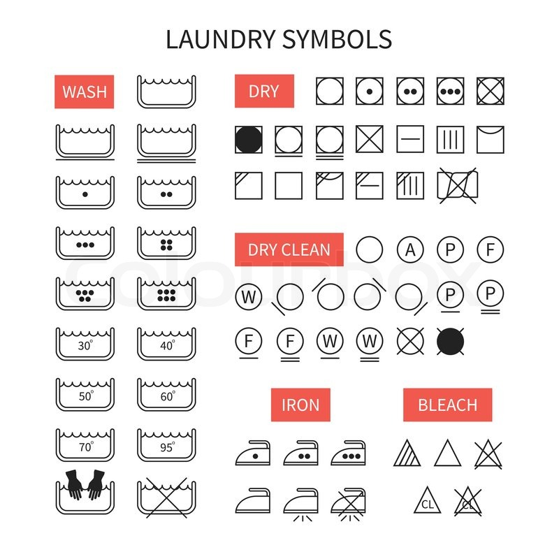 800x800 Set Of Line Simple Washing Instruction Symbols .laundry Icons In