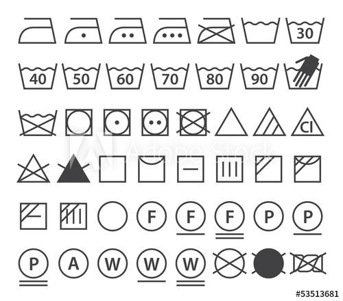 500x440 Set Of Washing Symbols (Laundry Icons)