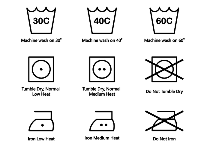 700x490 Washing Symbols Vector