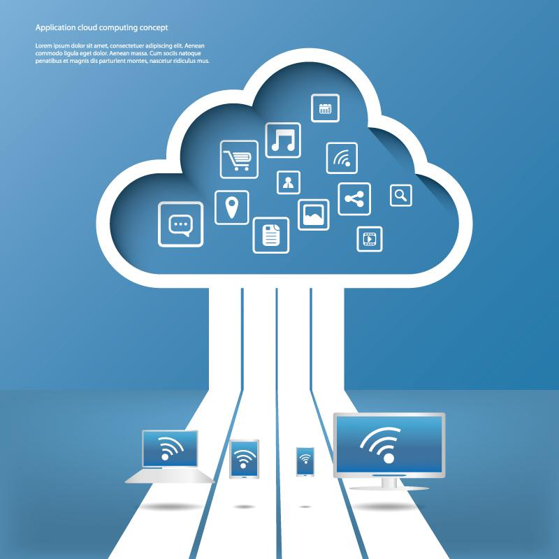 800x800 Cloud Services Application Background Vector [Eps]