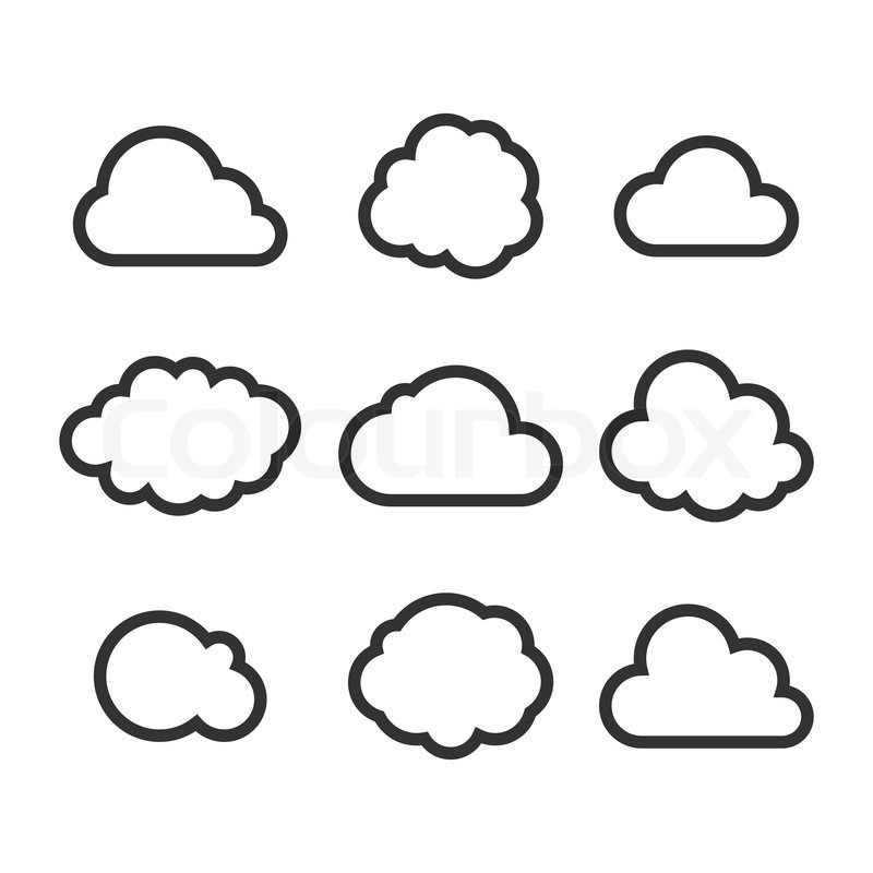 800x800 Cloud Icon Set. Vector Stock Vector Colourbox