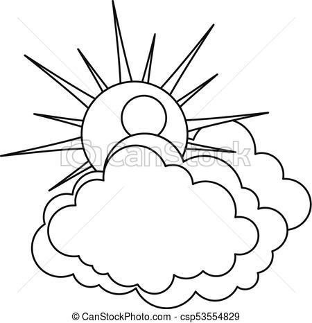 450x466 Sun And Cloud Icon, Outline Style. Sun And Cloud Icon. Outline