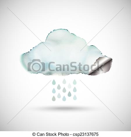 450x470 Watercolour Rain Cloud. Watercolour Cloud With A Silver Lining.and