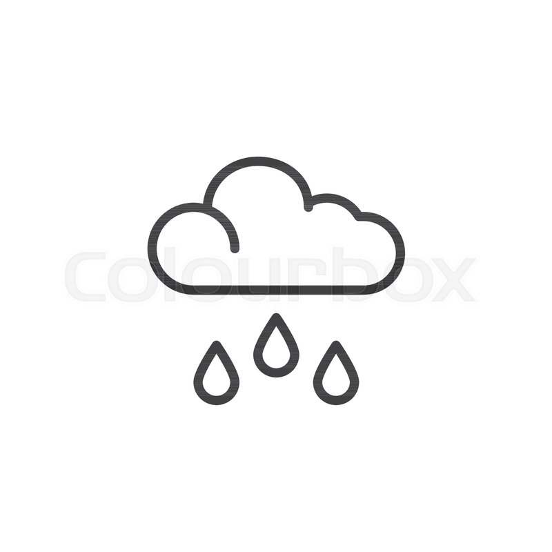 800x800 Cloud And Rain Outline Icon. Linear Style Sign For Mobile Concept