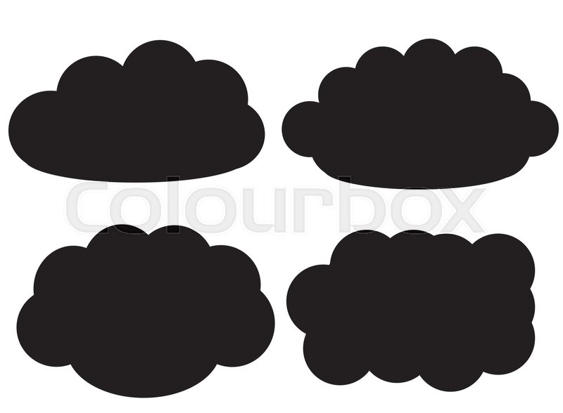 800x588 Black Cloud Vector Icons Isolated Over White Background, Cloud