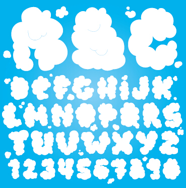 369x373 Cloud Numbers And Alphabet Vector Graphics Free Download