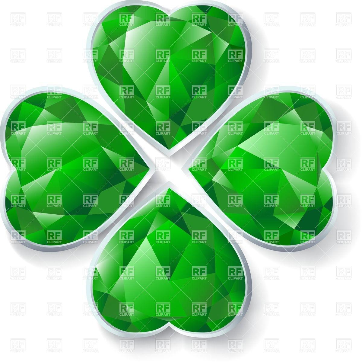 1200x1199 Four Leaves Emerald Clover Vector Image Vector Artwork Of Design
