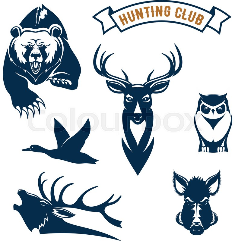 779x800 Hunting Club Icons Of Hunt Wild Animals Grizzly Bear, Deer Or
