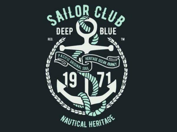 600x450 Sailor Club Vector T Shirt Design