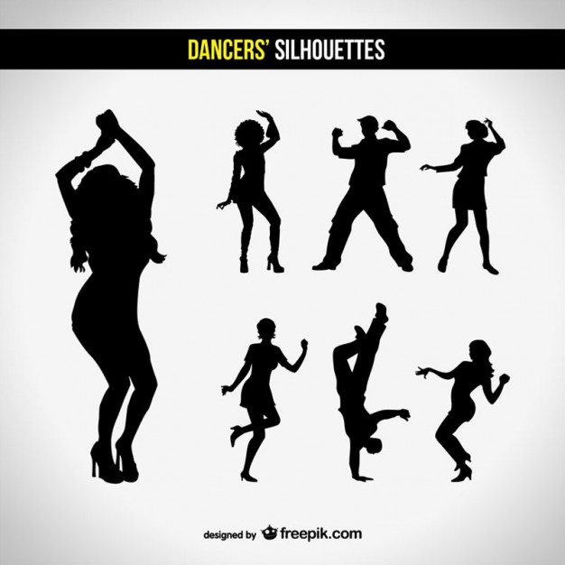 626x626 Silhouettes Club Dancing Set Vector Free Download