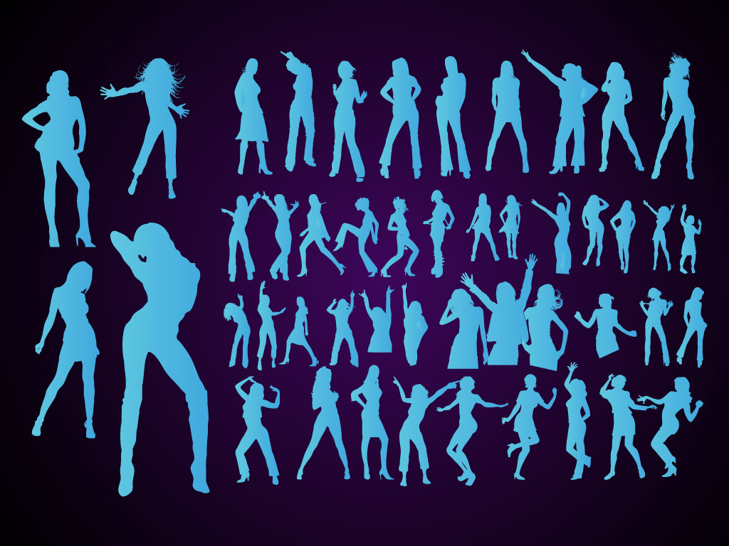 1024x768 Dancing Girls Vector Silhouettes