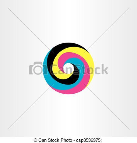 450x470 Printing Cmyk Logo Circle Vector Icon Design. Printing Cmyk Logo