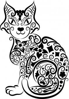 236x338 Cat Vector Line Art Free Vector Download Cnc Cat