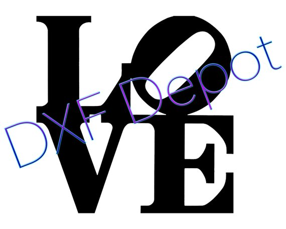 570x456 Love Sign .dxf Format. Cnc Cut File Vector Art Clip Art