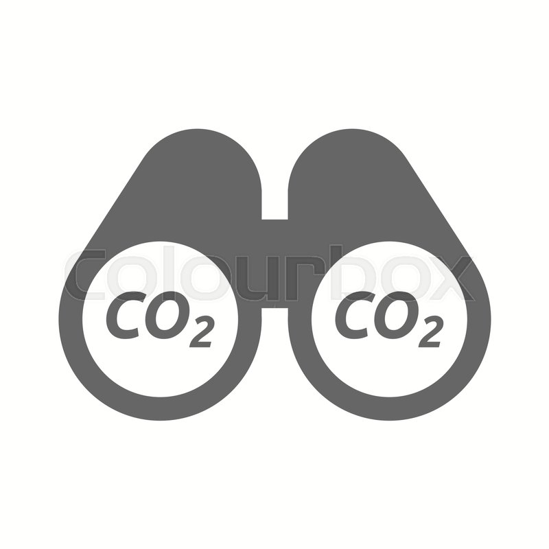800x800 Illustration Of An Isolated Binoculars With The Text Co2 Stock