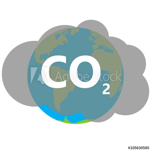 500x500 Co2 Icon Cloud Vector On Earth, Carbon Dioxide Emits Symbol, Sm