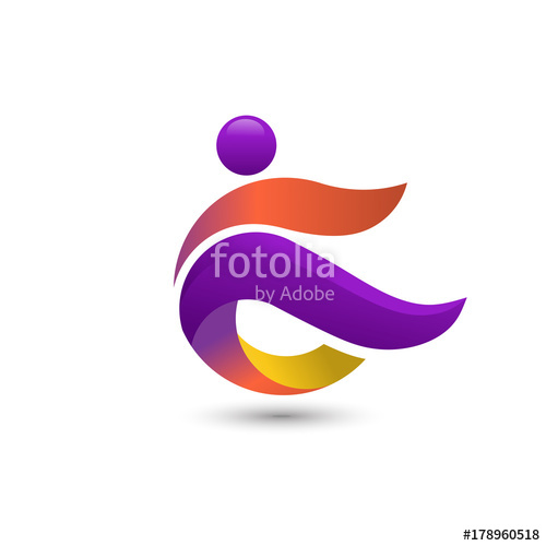 500x500 Simple Concept For Colorful People Logo. Abstract People Colorful