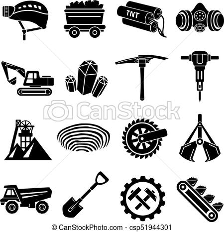450x466 Coal Mine Icons Set, Simple Style. Coal Mine Icons Set. Simple