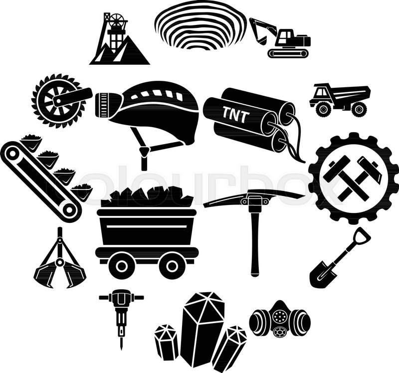 800x748 Coal Mine Icons Set. Simple Illustration Of 16 Coal Mine Vector