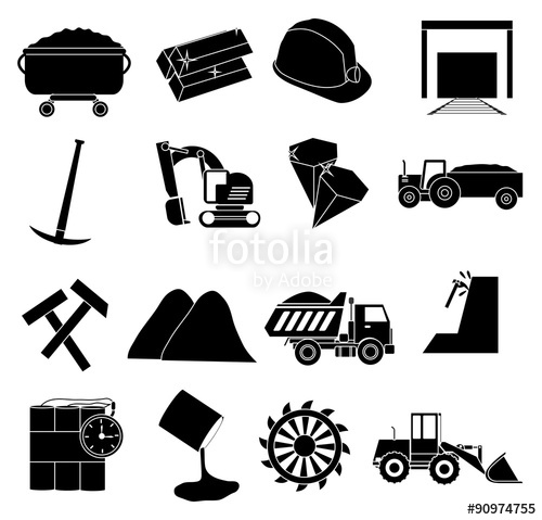 500x479 Coal Mining Icons Set Stock Image And Royalty Free Vector Files
