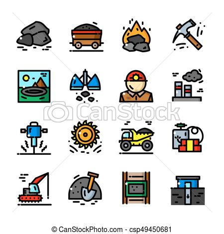 450x470 Coal Mining Icons Set Vector Illustration. Thin Line Coal Mining