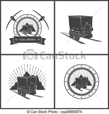 450x470 Set Of Emblem Coal Mining Industry. Coal Mine Trolley On A