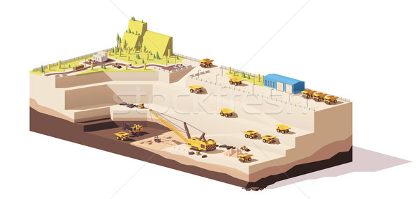 600x286 Vector Low Poly Open Pit Coal Mine Vector Illustration Taras
